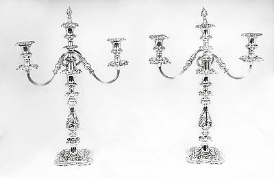 Antique Pair  Silver Plate  Twin branch 3 Light Candelabra C1920
