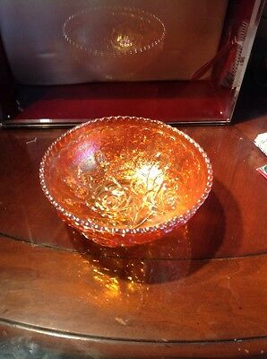 Vintage-large Imperial-marigold-carnival-glass--lustre-bowl footed Lkok