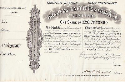 Charles Laffitte & Company Limited.-one Share of 20 Pfund-1866