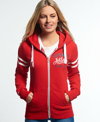 New Womens Superdry Track and Field Zip Hoodie Rich Scarlet