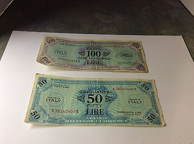 Allied Military Currency 100 & 50 Lire Notes WW2