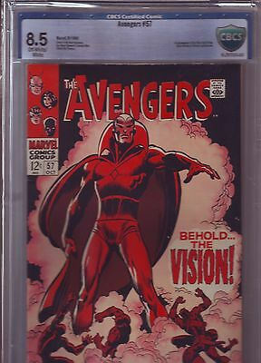 AVENGERS #57 CBCS 8.5 Not CGC VFINE+ 1ST VISION OW/WHITE PAGES SILVER AGE MARVEL