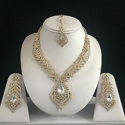 Gold Clear Indian Costume Jewellery Necklace Earrings Diamond Set Bridal New