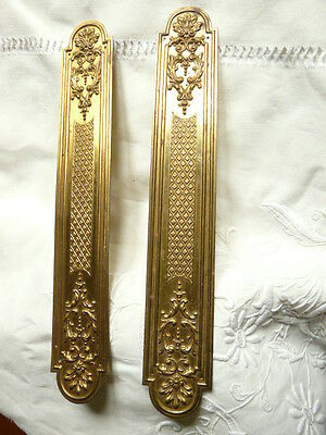 Antique French Brass Door Pull  Set Plates 12 1/2""