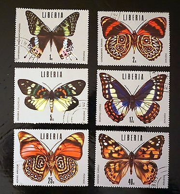 LIBERIA complete set of 6    BUTTERFLIES butterfly insect STAMPS