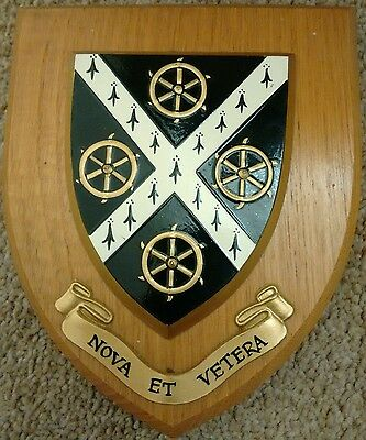 Vintage Oxford University St Catherine's College School Crest Shield Plaque