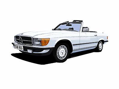 Mercedes Benz Sl Car Art Print (Size A3). Personalise It!