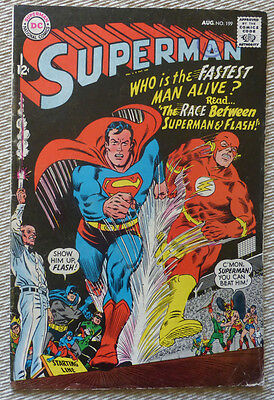 Superman #199, Aug. 1967. 1St Race With Flash!!