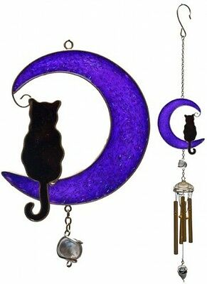 Cat on A Moon Wind Chime Outdoor Garden Home Windchime Decor 48cm