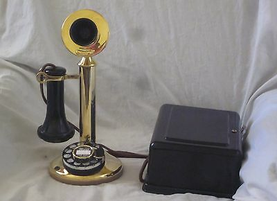 Western Electric Brass Dial Candlestick e/w Ringer Box
