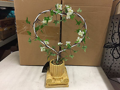 New Christopher Radko Potted Ivy Topiary Heart Holder - Set of two (2)