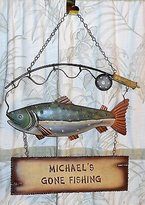 MICHAEL'S GONE FISHING Hanging Metal Sign with Fish & Fishing Pole