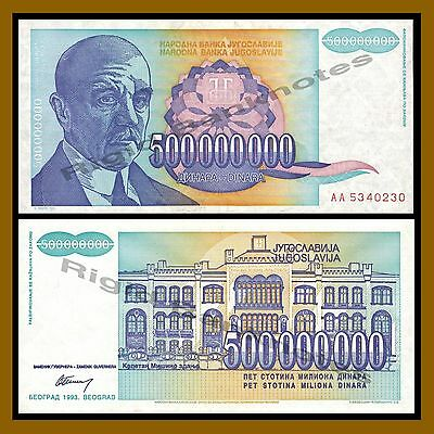 Yugoslavia 500000000 (500 Million) Dinara, 1993 P-134 Reform Issue VF-XF