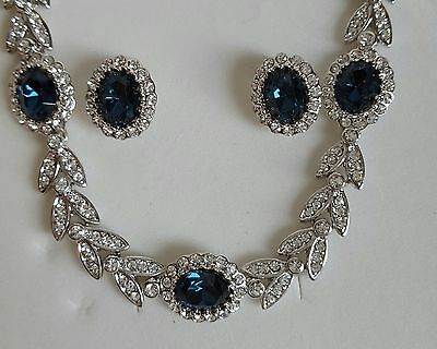 Swarovski Element Blue Crystal Necklace and Earring Set, Free Gift Box