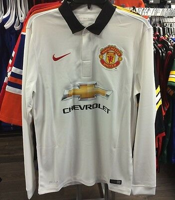 Manchester United Soccer White Home Jersey Long Sleeves Premier League XX-Large