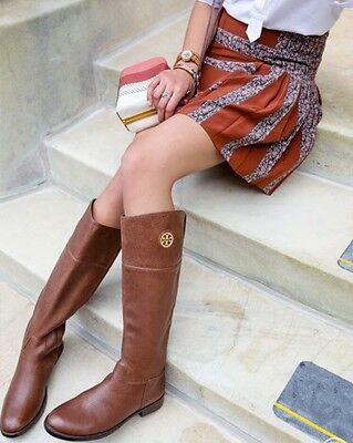 50db1ca2687f TORY BURCH  ASHLYNN  Almond Brown Leather Riding Boots Size 9M ...