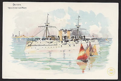 USS Cruiser Baltimore US Navy Ship 1892 Spanish-American War Clarks Sewing Card