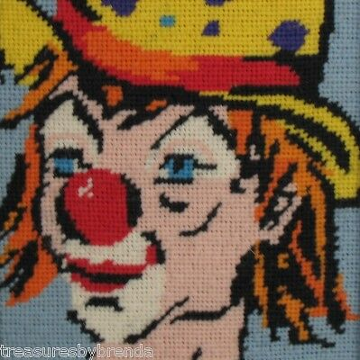 Vintage Framed Clown Picture Needlepoint Dove Circus Art