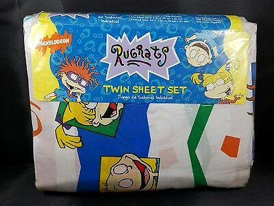 NIB. VINTAGE Rugrats Nickelodeon Twin Sheet Set Chucky Tommy Angelica 1996