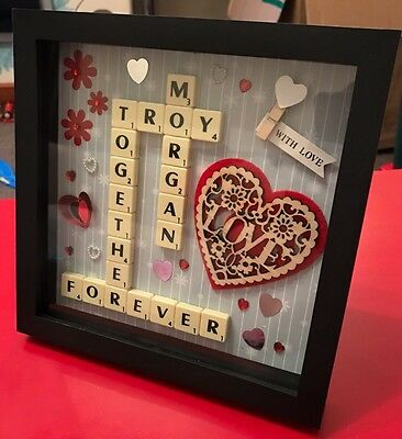 Personalised scrabble frame. Mothers Day, Wedding, Birthday, Christening, Family