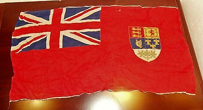 Canadian Original Ww2 Red Ensign Linen Patriotic Flag Approx. 27 X 14 In. Lot 65