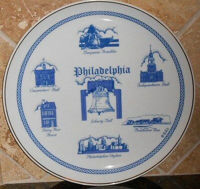 """Philadelphia Collector Plate, 8.25"""", Blue Detail On White, Gold Trim,"""