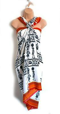African Ethnic Tribal Scarf Sarong, Wall-Hanging Unique  Holiday Gifts Tanzania