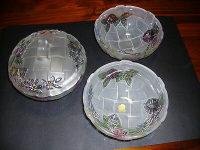 Reduced - Soga Glass by Riccardo Japan Bowls x 3 - one with lid
