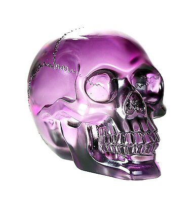 Crystal Clear Translucent Skull Collectible Figurine 4.5 Inch (Purple)