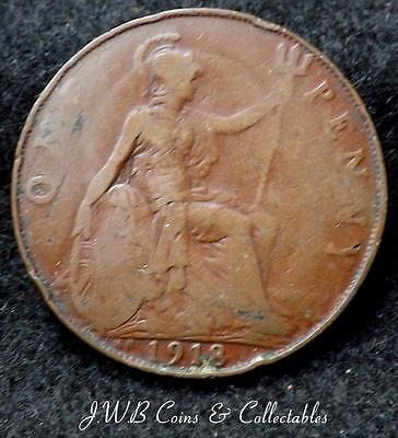1918-KN George V 1d One Penny Coin - Great Britain - Ref ; T/M.