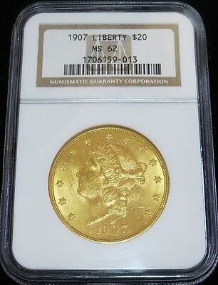 1907 Gold United States $ 20 Dollar Liberty Head Coin Ngc Mint State 62