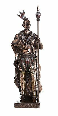 "Indian Warrior with Traditional Costume and Weapon Collectible Figurine 9"" Tall"