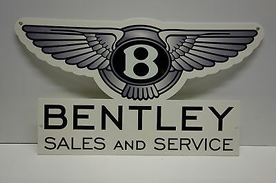"Bentley Sales & Service Dealership Wing Sign. 10.0"" X 18"" Very Scarce! Excellent"