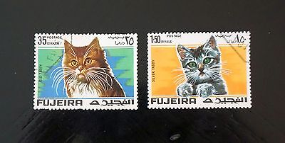 FUJEIRA    NICE SET of 2 CAT STAMPS  kittens  Commemoratives  used