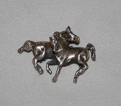 """Sterling Silver Pin Brooch 2 Horses Mare Stallion Equestrian  1 3/4"""" Long"""