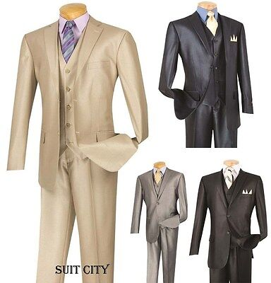 Men's Suit Single Breasted 2 Buttons 3 Piece Vested Classic Fit Shiny V2RR-1