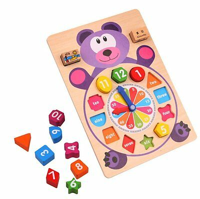 Shape Sorting Clock Learn to Tell Time Wooden Counting Numbers Puzzle Toy Bear 3