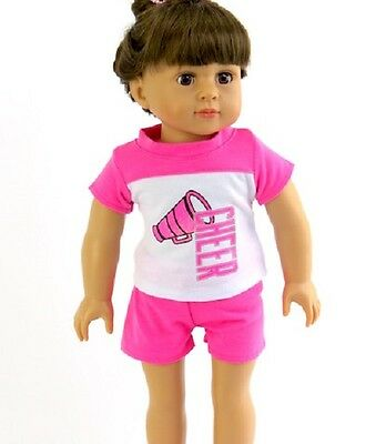 """Hot Pink Cheer Short Set Fits 18"""" American Girl Doll Clothes"""