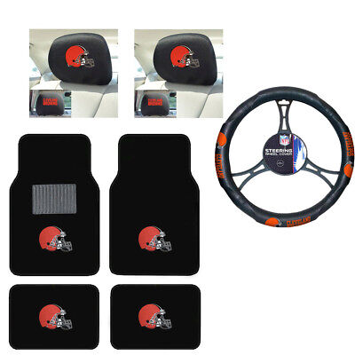 NFL Cleveland Browns Car Truck Floor Mats Headrest Covers Steering Wheel Cover