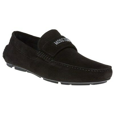 New Mens Moschino Black Logo Driving Suede Shoes Slip On