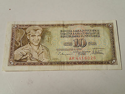 Yugoslavia - 10 Dinar Bill, Banknote, Currency, Paper Money 1978