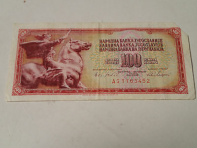 Yugoslavia - 100 Dinar Bill, Banknote, Currency, Paper Money 1978