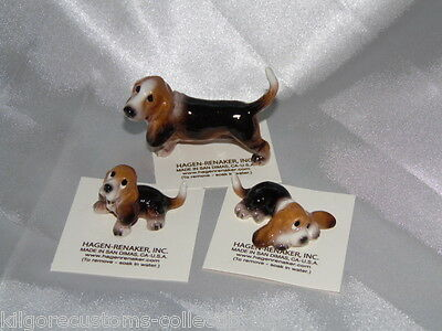 Hagen Renaker Dog Basset Hound Set of 3 Papa and Pups Figurine Miniature Ceramic