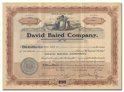 David Baird Company Stock Certificate Issued to David Baird, Jr.