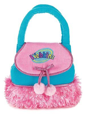 "Ganz Purse Turquoise Corduroy w/Pink Plush Fur Accents 8"" Holds Webkinz Lilkinz"