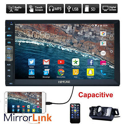 """2 Din 7"""" Touch Screen Car Radio BT Stereo Mic MP5 Player AUX Mirror Link +CAMERA"""