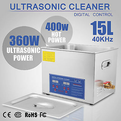 Stainless Steel 15l Liter Ultrasonic Cleaner Heater W/ Timer Industry Heated