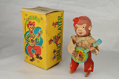 "Vintage SK Super Toy Banjo Player Monkey 6 1/8"" Tall Clockwork Very Good W/Box"