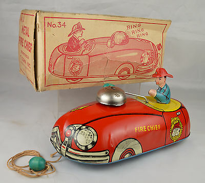 """T Cohn #34 Metal Fire Chief Pull Toy Auto 9"""" Long USA Near Mint Condition W/Box"""