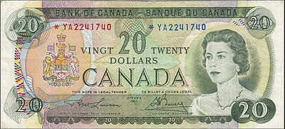 1969 Canada $20 Dollar Bank Note - Replacement * Star Note *